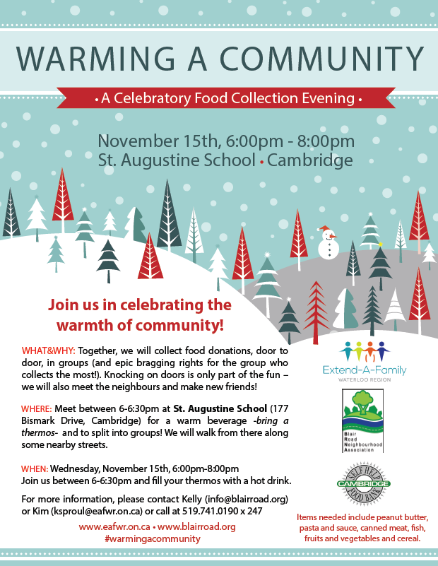 warming a community food drive blair road neighbourhood