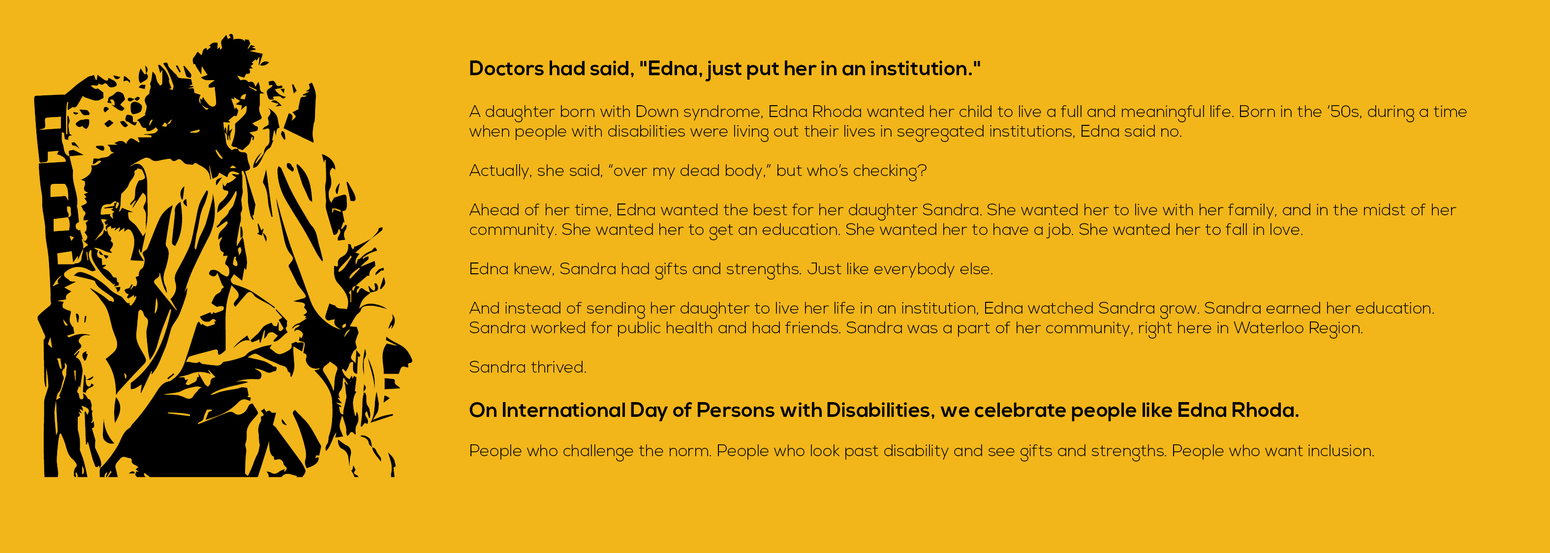 Silhoutte of Edna Rhoda with her story on a yellow background