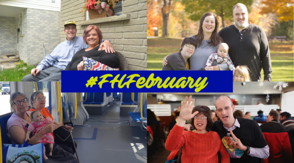Pictures of families who are FamilyHome providers and people who live in the FamilyHome program.