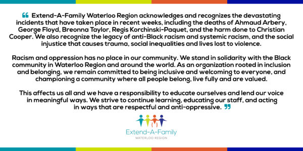 Statement of Solidarity from Extend-A-Family Waterloo Region #BlackLivesMatter thumbnail